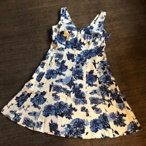 Blue and white floral Chaps A-line dress - Size 14